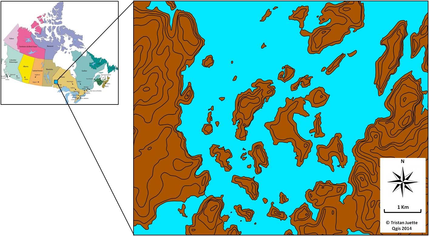 Figure 1. Carte du site d'étude. En haut à gauche : carte du Canada et localisation du site d'étude, Minaki, Nord-Ouest Ontario. Droite : carte détaillée du site d'échantillonnage.
