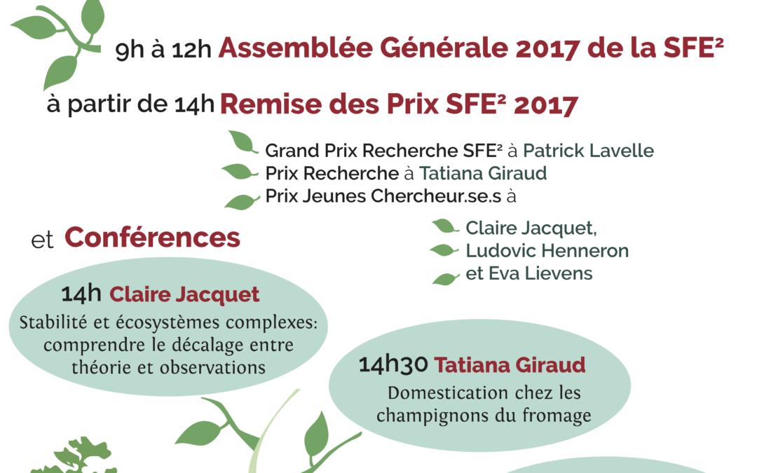 AG + Remise des prix SFE2 2017- 18 Janvier, à partir de 10h, Paris