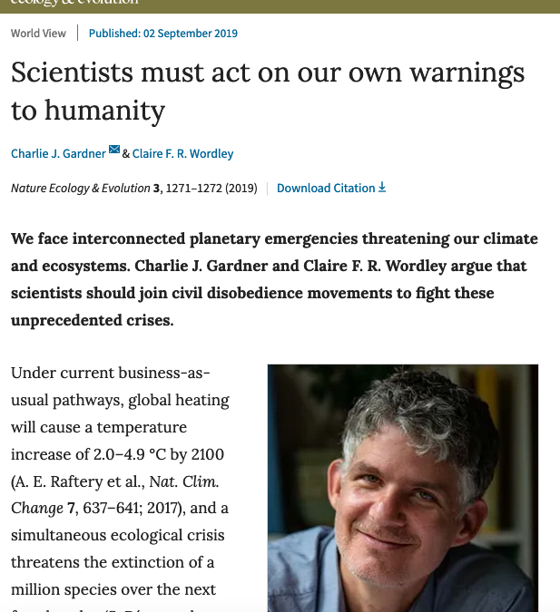 Article Nature – Scientists must act on our own warnings to humanity